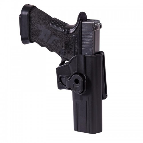 RELEASE BUTTON HOLSTER FOR GLOCK 17 WITH BELT CLIP - MILITARY GRADE POLYMER - BLACK