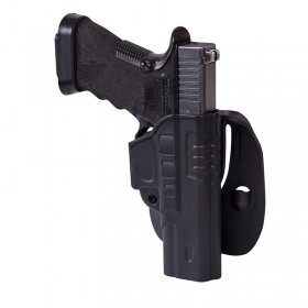 FAST DRAW HOLSTER FOR GLOCK 17 WITH PADDLE - MILITARY GRADE POLYMER - BLACK